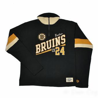 Boston Bruins Old Time Hockey Christopher Black Crew Neck Quarter Zip Fleece (Adult S)