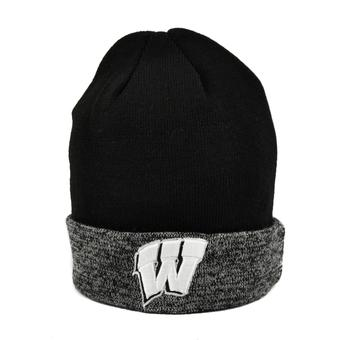 Wisconsin Badgers Top Of The World Black & Gray Quasi Cuffed Knit Hat (Adult One Size)