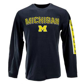 Michigan Wolverines Colosseum Navy Surge Long Sleeve Tee Shirt (Adult S)