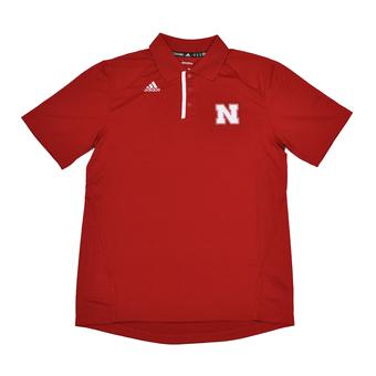 Nebraska Cornhuskers Adidas Red Climalite Performance Polo (Adult L)