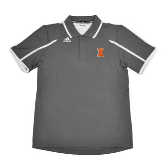 Illinois Fighting Illini Adidas Grey Climalite Performance Polo (Adult L)