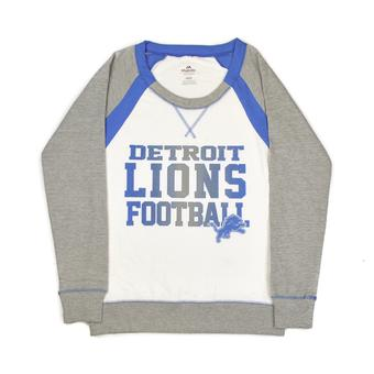Detroit Lions Majestic Grey & White Counter IV Crew Fleece Sweatshirt (Womens M)