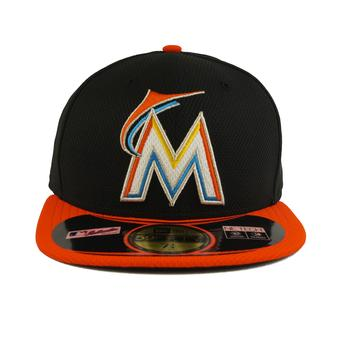 Miami Marlins New Era Diamond Era 59Fifty Fitted Black & Orange Hat (7 3/4)