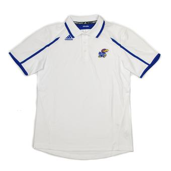 Kansas Jayhawks Adidas White Climalite Performance Polo