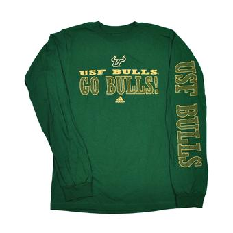 South Florida Bulls Adidas Green Long Sleeve Tee Shirt (Adult L)