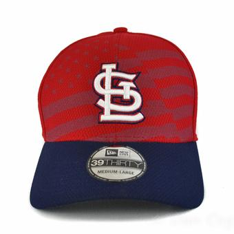 St. Louis Cardinals New Era Red 39Thirty Stars & Stripes Flex Fit Hat (Adult L/XL)