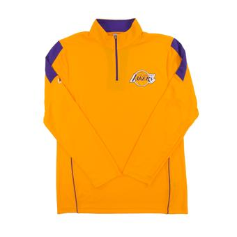 Los Angeles Lakers Majestic Yellow Gold Status Inquiry Performance 1/4 Zip Long Sleeve (Adult L)