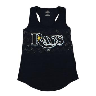 Tampa Bay Rays Majestic Navy Baseball Dreamer Sequin Tank Top (Womens L)