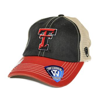 Texas Tech Red Raiders Top Of The World Offroad Red Three Tone Adjustable Snapback Hat (Adult One Size)