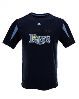 Tampa Bay Rays Majestic Navy Crowding The Plate Performance Tee Shirt (Adult L)