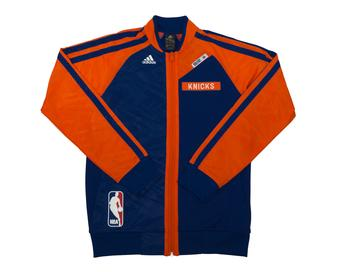 New York Knicks Adidas Blue On Court Warm Up Performance Jacket (Adult L)
