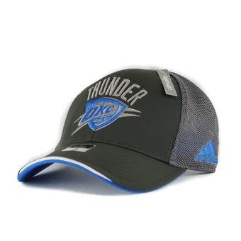 Oklahoma City Thunder Adidas NBA Pro Shape Flex Grey Fitted Hat (Adult L/XL)