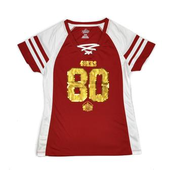San Francisco 49ers Jerry Rice Majestic Red HOF Draft Him VII V-Neck Tee Shirt (Womens M)