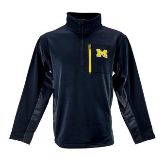 Michigan Wolverines Colosseum Navy Surge 1/4 Zip Pullover Performance Fleece (Adult L)