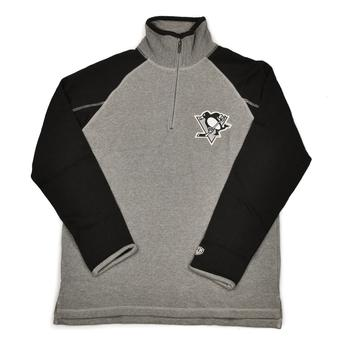Pittsburgh Penguins Old Time Hockey Jarrett Grey & Black 1/4 Zip Fleece Crew (Adult L)