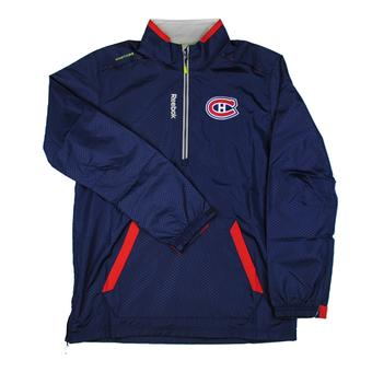 Montreal Canadiens Reebok Center Ice Navy Hot Jacket 1/4 Zip Performance Pullover (Adult L)