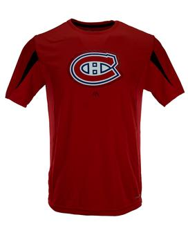 Montreal Canadiens Majestic Red Chip Pass Performance Synthetic Tee Shirt (Adult M)
