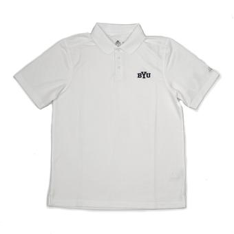 BYU Cougars Adidas White Climalite Performance Polo (Adult M)
