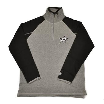 Dallas Stars Old Time Hockey Jarrett Grey & Black 1/4 Zip Fleece Crew (Adult L)