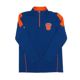 New York Knicks Majestic Royal Blue Status Inquiry Performance 1/4 Zip Long Sleeve (Adult L)