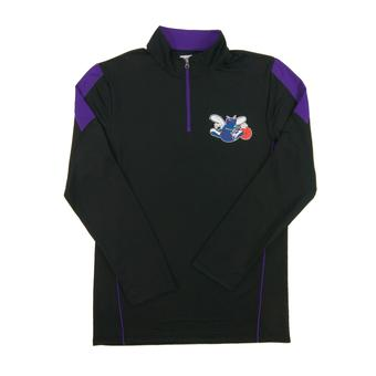 Charlotte Hornets Majestic Black Status Inquiry Performance 1/4 Zip Long Sleeve (Adult XL)