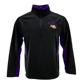 LSU Tigers Colosseum Black Training Day 1/4 Zip Pullover Performance Fleece (Adult S)