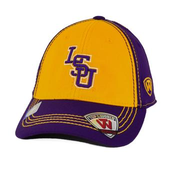 LSU Tigers Top Of The World Haymaker Two Tone Purple & Yellow One Fit Flex Hat (Youth One Size)