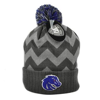 Boise State Broncos Top Of The World Gray Chevron Cuffed Pom Knit Hat (Adult One Size)