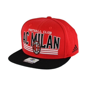 A.C. Milan Adidas Soccer Red Flat Brim Snapback Hat (Adult One Size)