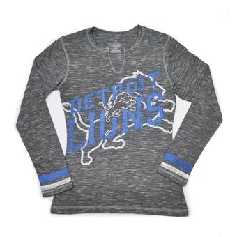 Detroit Lions Majestic Grey Gametime Gal V-Neck Long Sleeve Shirt (Womens L)