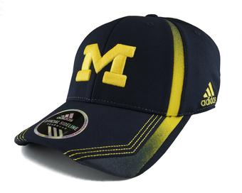 Michigan Wolverines Football Adidas Structured Flex Navy Fitted Hat