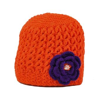 Clemson Tigers Top Of The World Womens Orange Maritime Flower Knit Hat (Womens One Size)