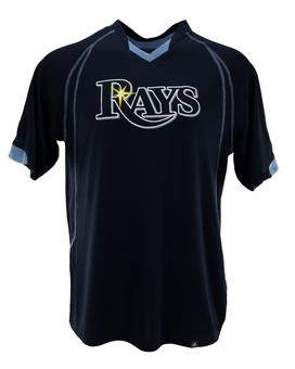 Tampa Bay Rays Majestic Navy Lead Hitter V-Neck Tee Shirt (Adult XXL)
