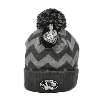 Missouri Tigers Top Of The World Gray Chevron Cuffed Pom Knit Hat (Adult One Size)