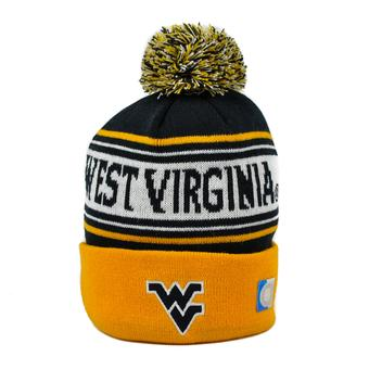 West Virginia Mountaineers Top Of The World Navy & Yellow Ambient Cuffed Pom Knit Hat (Adult One Size)