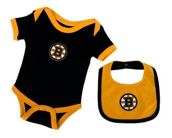 Boston Bruins Old Time Hockey Knick Knack Black Infant Onesie Bib Set (Infant 24M)