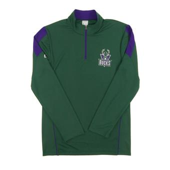 Milwaukee Bucks Majestic Green Status Inquiry Performance 1/4 Zip Long Sleeve (Adult M)