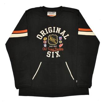 NHL Original 6 Logo Old Time Hockey Cobron Black & Ochre Long Sleeve Tee Shirt (Adult XL)