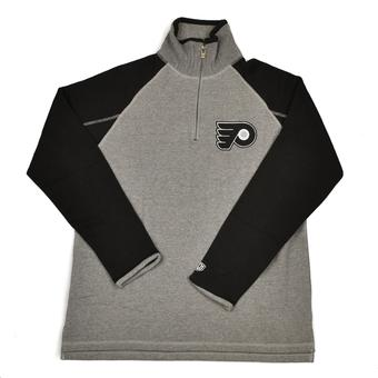 Philadelphia Flyers Old Time Hockey Jarrett Grey & Black 1/4 Zip Fleece Crew (Adult S)