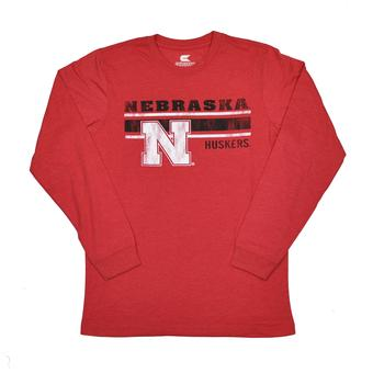 Nebraska Cornhuskers Colosseum Red Warrior Long Sleeve Tee Shirt (Adult XXL)