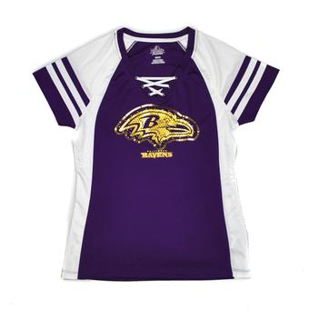 Baltimore Ravens Majestic Purple Draft Me VII V-Neck Lace Up Tee Shirt (Womens M)