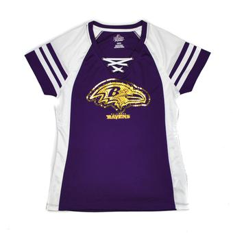 Baltimore Ravens Majestic Purple Draft Me VII V-Neck Lace Up Tee Shirt (Womens L)