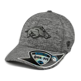 Arkansas Razorbacks Top Of The World Steam Heather Grey One Fit Flex Hat (Adult One Size)