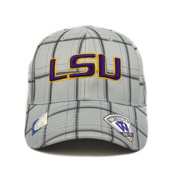 LSU Tigers Top Of The World Fuse Plaid Grey & Purple One Fit Flex Hat (Adult One Size)