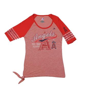 Los Angeles Angels Majestic Red My Favorite Game Fashion Tee Shirt (Womens S)