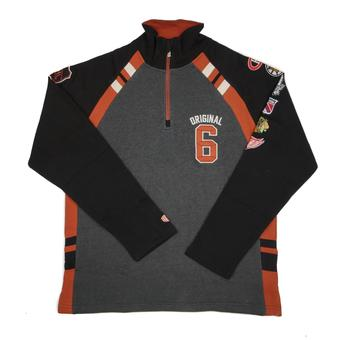NHL Original 6 Old Time Hockey Atkinson Charcoal & Black Crew 1/4 Zip Fleece (Adult S)