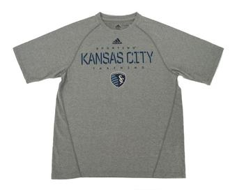 Kansas City Sporting Adidas Gray Climalite Performance Tee Shirt