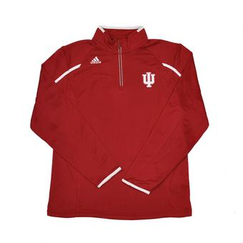 Indiana Hoosiers Adidas Red Climalite Performance Coaches 1/4 Zip Fleece (Adult L)
