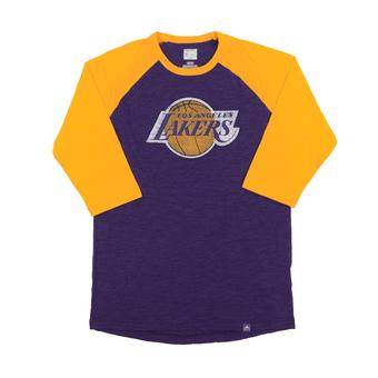 Los Angeles Lakers Majestic Purple Don't Judge 3/4 Sleeve Dual Blend Tee Shirt (Adult XXL)