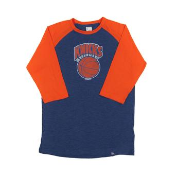 New York Knicks Majestic Blue Don't Judge 3/4 Sleeve Dual Blend Tee Shirt (Adult L)